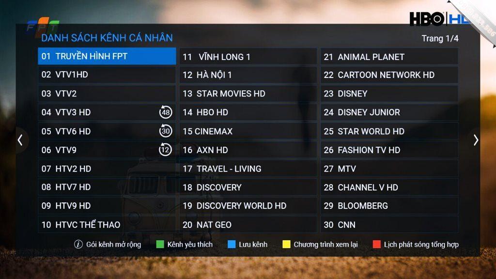 Danh sách kênh truyền hình cáp FPT