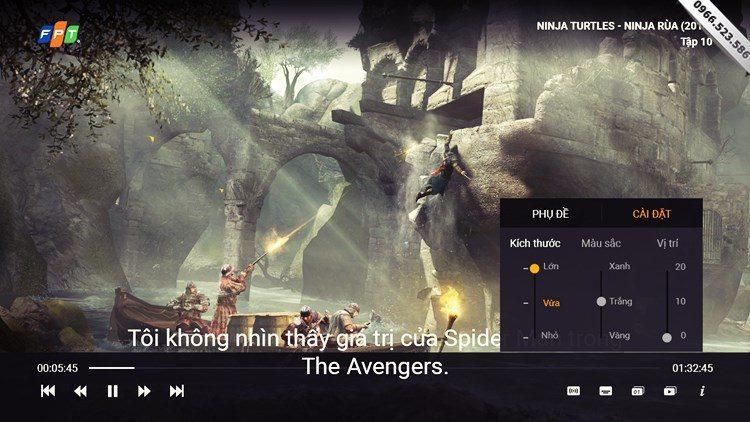 Giao diện Player Truyền hình FPT