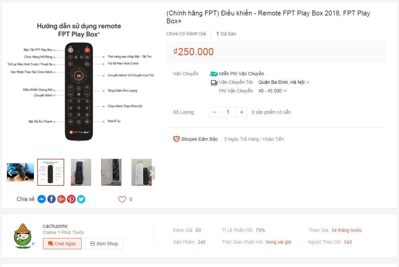 Link Shopee mua điều khiển FPT Play Box