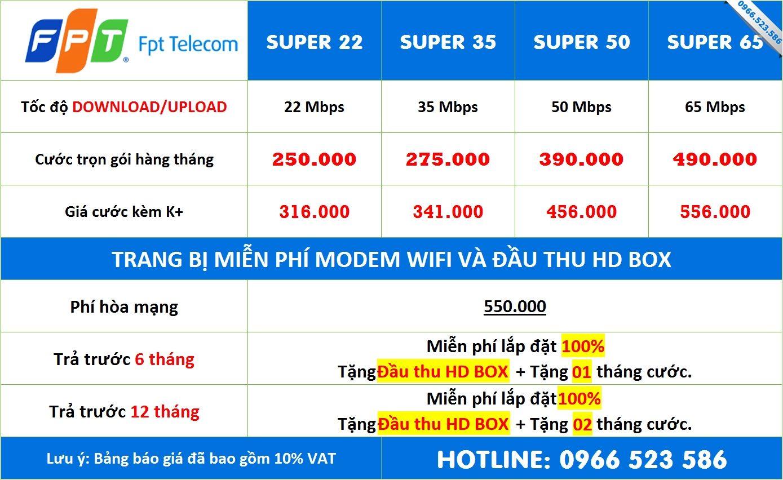 Bảng giá Combo Nội Thành Tháng 4